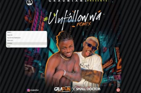 DOWNLOAD : Mr Gbafun ft. Small Doctor – Unfollow Wa (Remix)